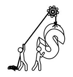 silhouette workers with pulley holding word s vector image