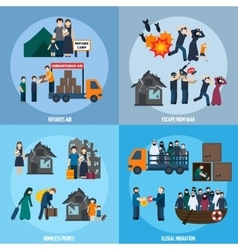 Stateless refugees set vector