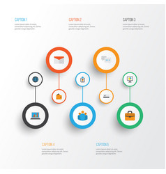trade flat icons set collection of billfold vector image vector image