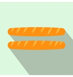 Two french baguettes icon flat style vector image vector image
