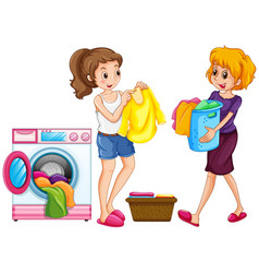 Two women doing laundry vector