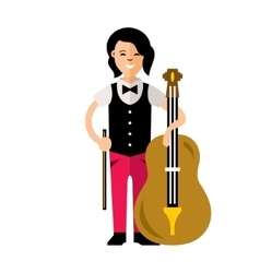 The Girl with a Cello Flat style colorful vector image