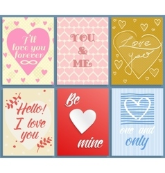 Valentines day greeting cards set vector