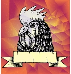 Geometric new year background rooster design vector