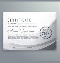 Clean gray diploma certificate design template vector