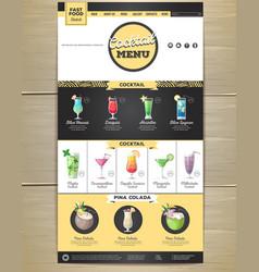 Flat cocktail menu concept web site design vector