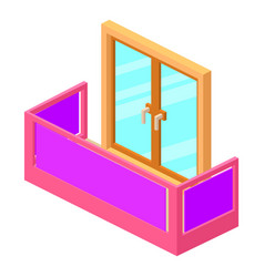 modern balcony icon isometric 3d style vector image