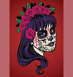 beautiful woman wearing sugar skull make up vector image