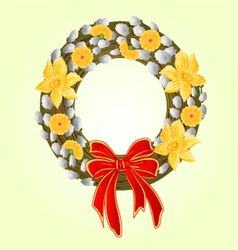 Easter wreath with pussy willow and daffodil vector