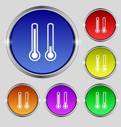 Thermometer temperature icon sign round symbol on vector