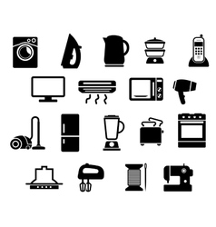 Home appliances black icons set vector