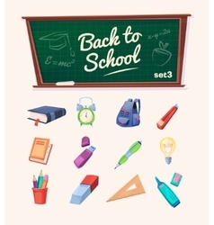 Back to school set of school supplies and icons vector