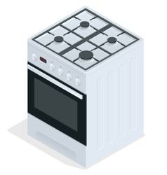 White gas stove free standing cooker 3d vector