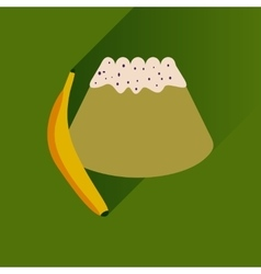 Flat with shadow icon bun banana on bright vector