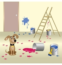 Dog and paint vector image