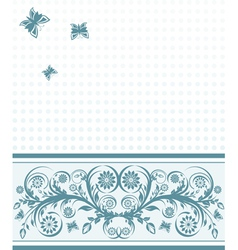 background with flower ornament and butterflies vector image vector image