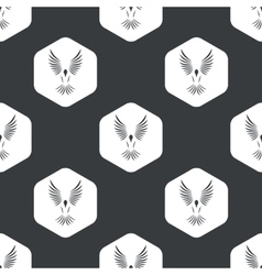Black hexagon flying bird pattern vector