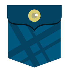 Blue pocket with a button icon isolated vector