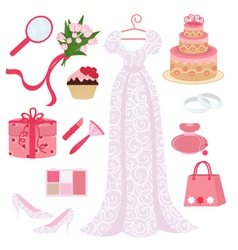bridal shower set vector image vector image