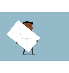Cartoon businessman carrying a large letter vector image