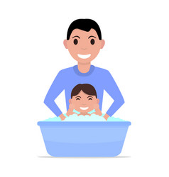 cartoon father bathes a baby vector image vector image