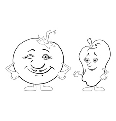 Character tomato and pepper outline vector image vector image