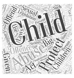 Child protection legislation offence word cloud vector