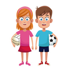 Couple children sport soccer and volleyball vector