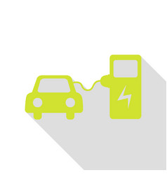 Electric car battery charging sign pear icon with vector