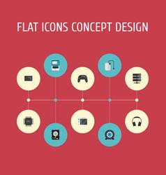 Flat icons monitor microprocessor slot machine vector