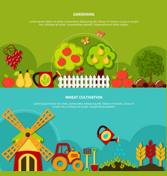 Gardening plants banners set vector