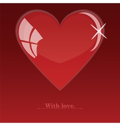 Glass red heart vector image vector image