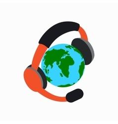 Globe with headphones icon isometric 3d style vector