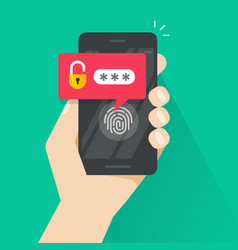 hand with smartphone unlocked with fingerprint vector image