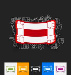 Handshake paper sticker with hand drawn elements vector