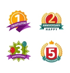 Happy birthday badges icons vector