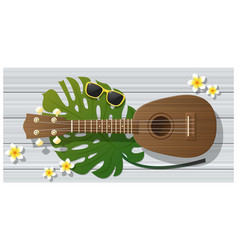 Hello summer background with ukulele vector