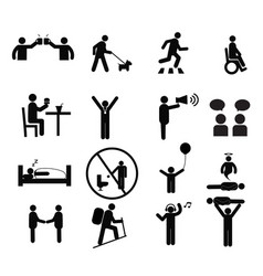 human pictogram set silhouette human vector image vector image