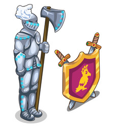 Knights armor with ax and royal shield with swords vector
