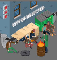lifestyle of homeless people isometric composition vector image