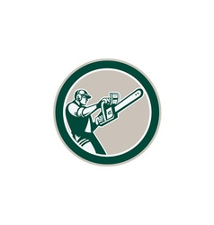 Lumberjack tree trimmer arborist chainsaw circle vector
