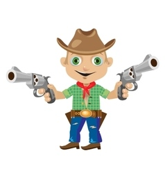 Man with two guns in wild West style vector image vector image
