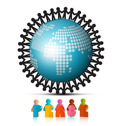 People Holding Hands Around Globe and Peace Paper vector image