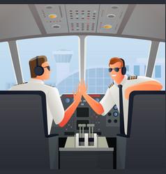 Pilots in cabin of plane vector