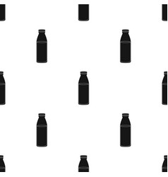 Plastic milk bottle icon in black style isolated vector