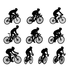 Racing bicyclists vector