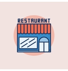 Restaurant building flat icon vector