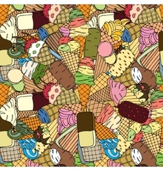 Seamless pattern with ice cream vector