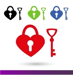 Set color icons wedding lock of happiness vector
