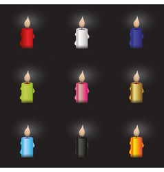 set of colorful candle at night eps10 vector image vector image